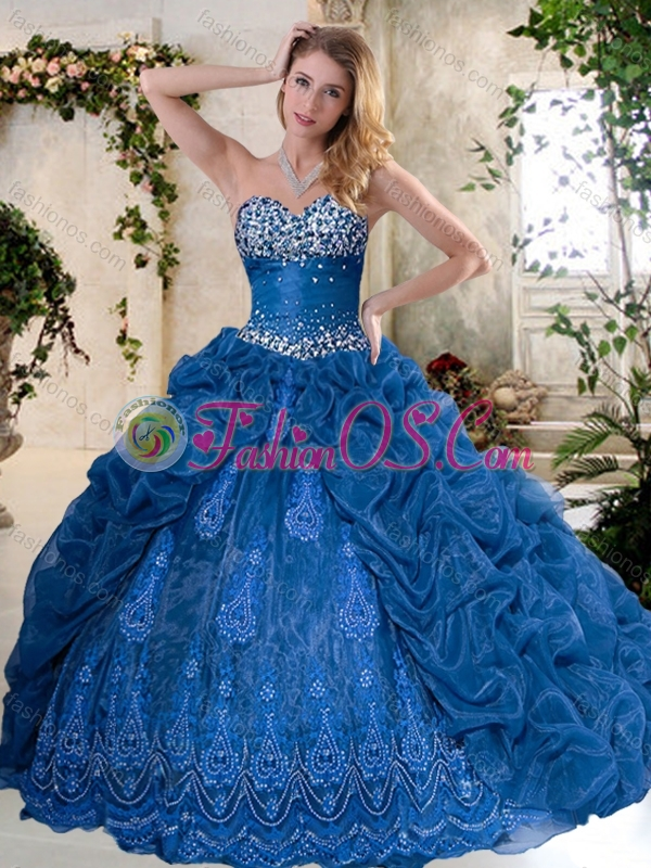 Discount Brush Train Quinceanera Dresses with Pick Ups and Embroidery