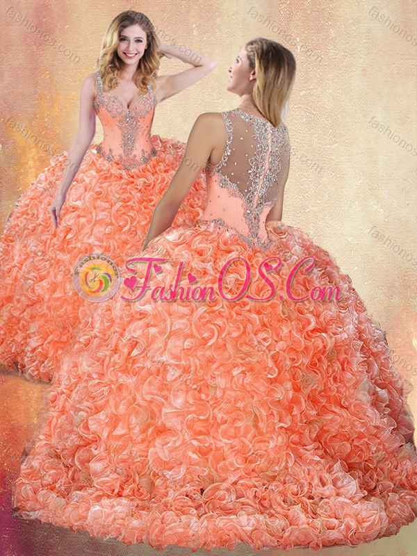Discount Straps Brush Train Quinceanera Dresses with Ruffles and Appliques