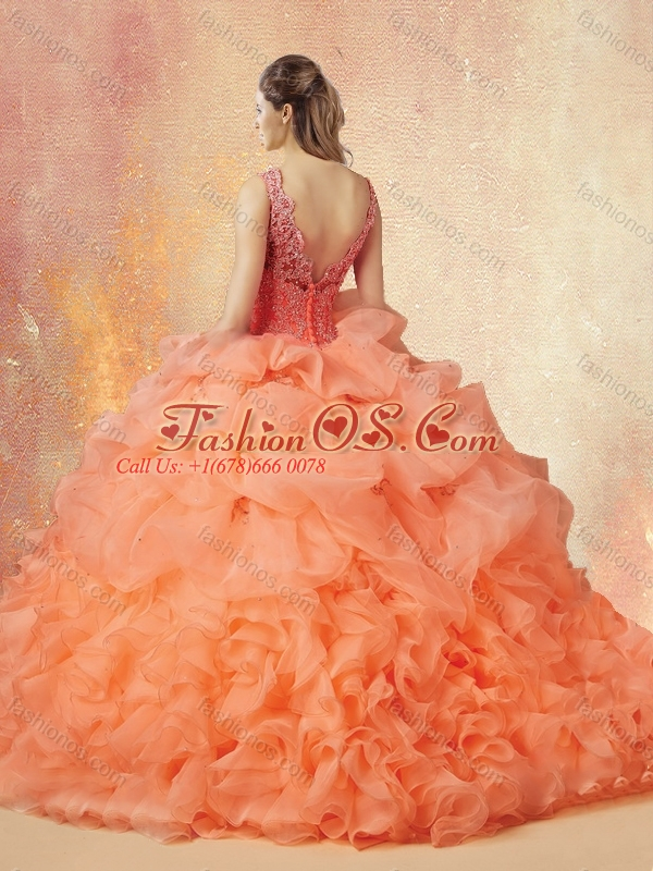 Discount V Neck Beading and Ruffles Sweet 16 Quinceanera Dresses with Brush Train