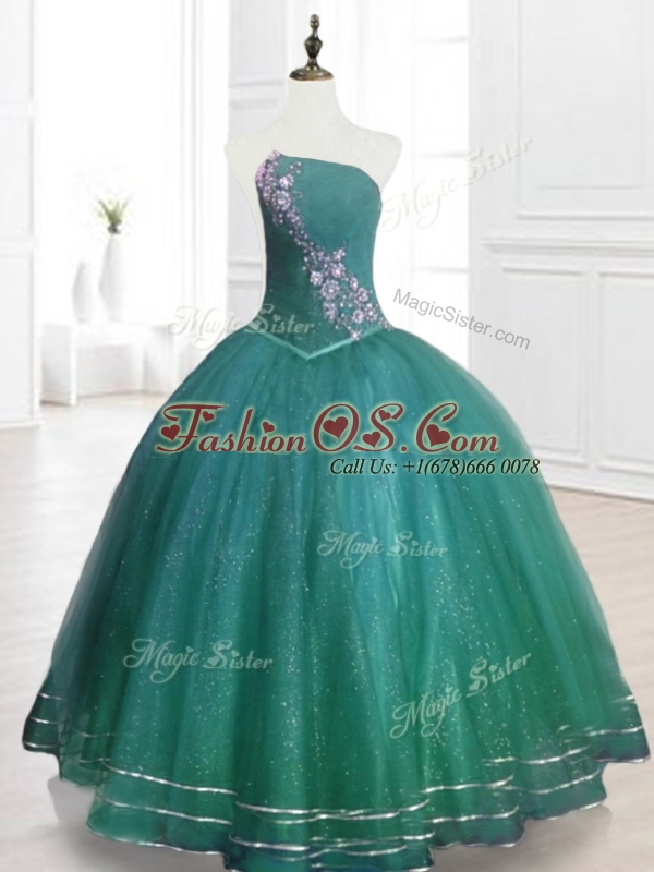 Classical Strapless Beading Sweet 16 Dresses in Dark Green