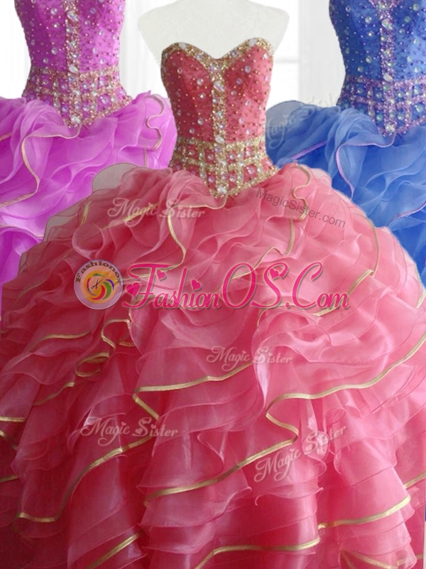 Modest Ball Gown Quinceanera Dresses with Beading and Ruffles