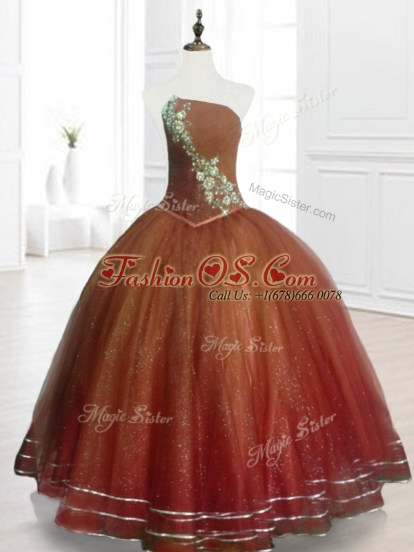 Popular Brown Ball Gown Strapless Quinceanera Dresses with Beading