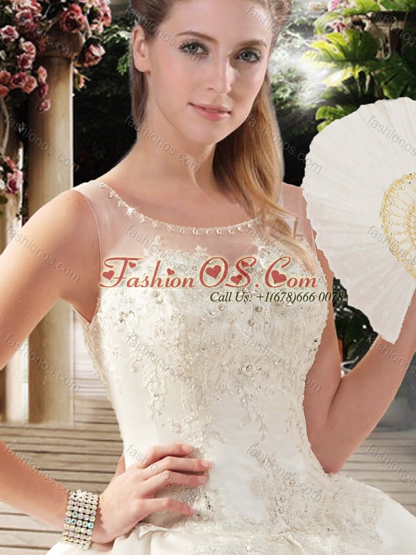 Romantic Ball Gowns Scoop Chapel Train Lace Wedding Dresses for Church