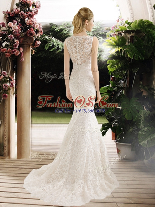 Hot Sale Mermaid Lace and Belt Wedding Dresses with Brush Train