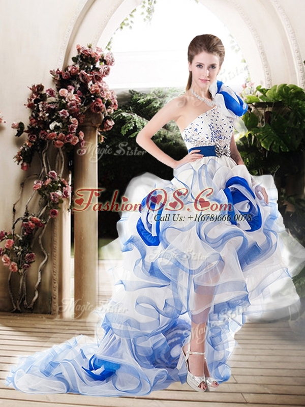 Popular One Shoulder High Low Wedding Dresses with Beading and Ruffles