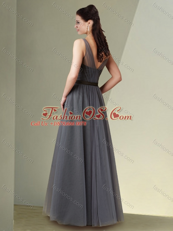 Beautiful Column V Neck Grey Mother of The Groom Dress with Ribbons