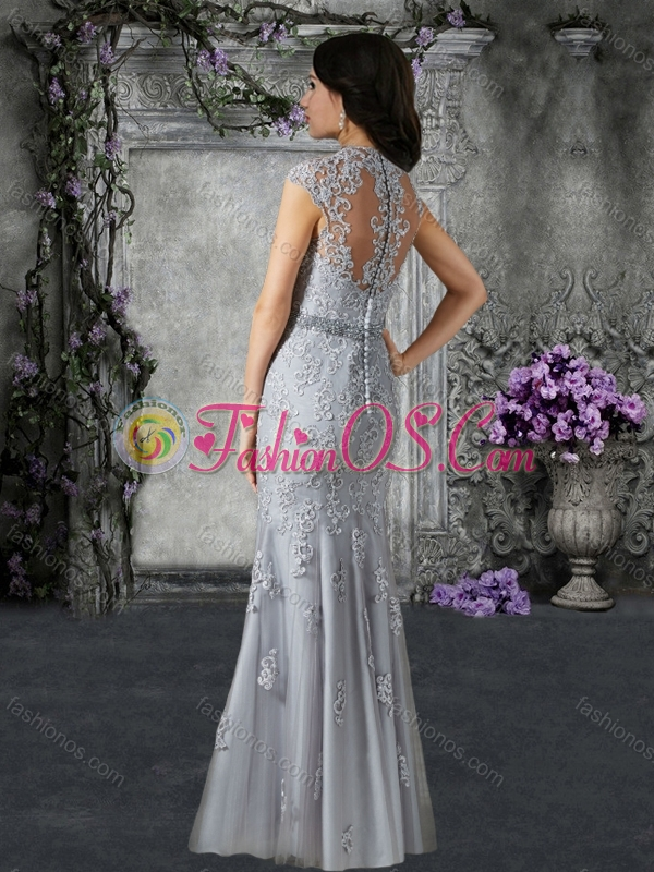 Customized Cap Sleeves Mother of The Bride Dress with Beading and Appliques
