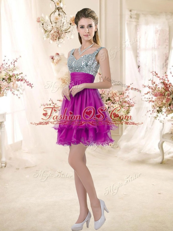 2016 Hot Sale Straps Short Bridesmaid Fuchsia Dresses with Sequins