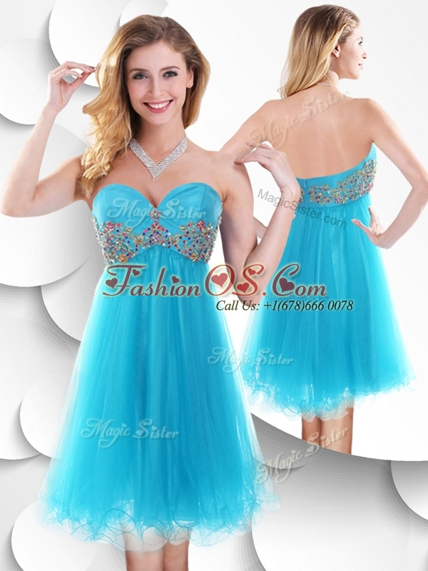 2016 Sweet Short Baby Blue Bridesmaid Dresses with Beading