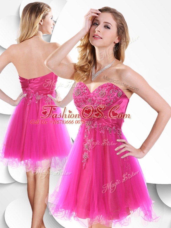 2016 Lovely Short Hot Pink Beautiful Prom Dresses with Beading and ...