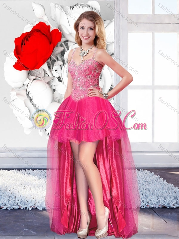 High Low Informal Beautiful Prom Dresses with Straps for 2016