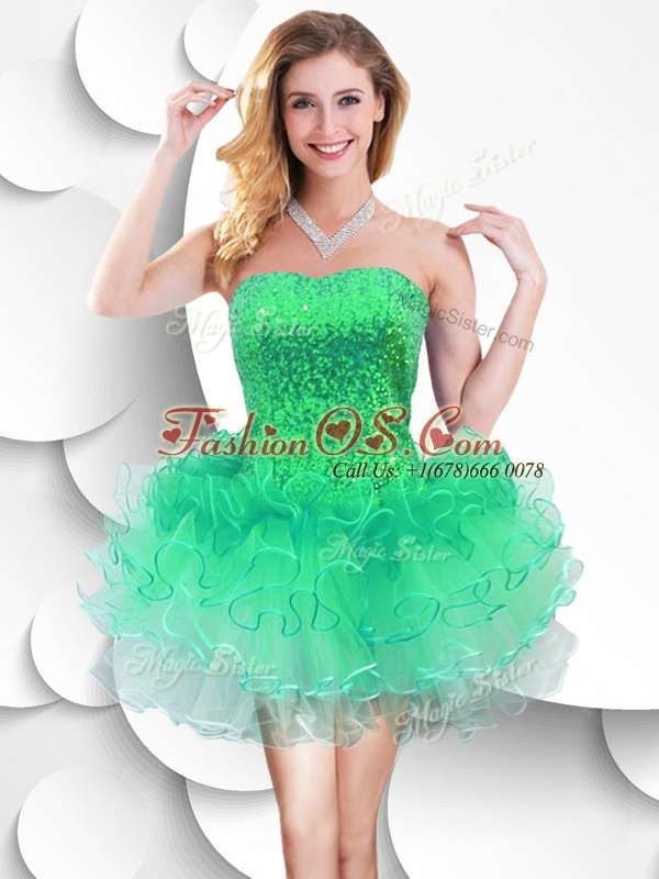 2016 Colorful Strapless Short Dama Dresses for Quinceanera with Sequins and Ruffles
