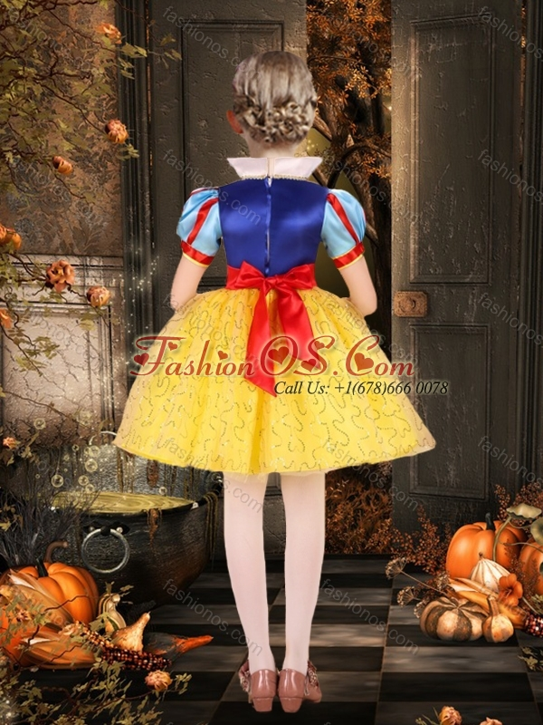 Cheap Short Sleeves Bowknot Little Girl Pageant Dress in Multi Color