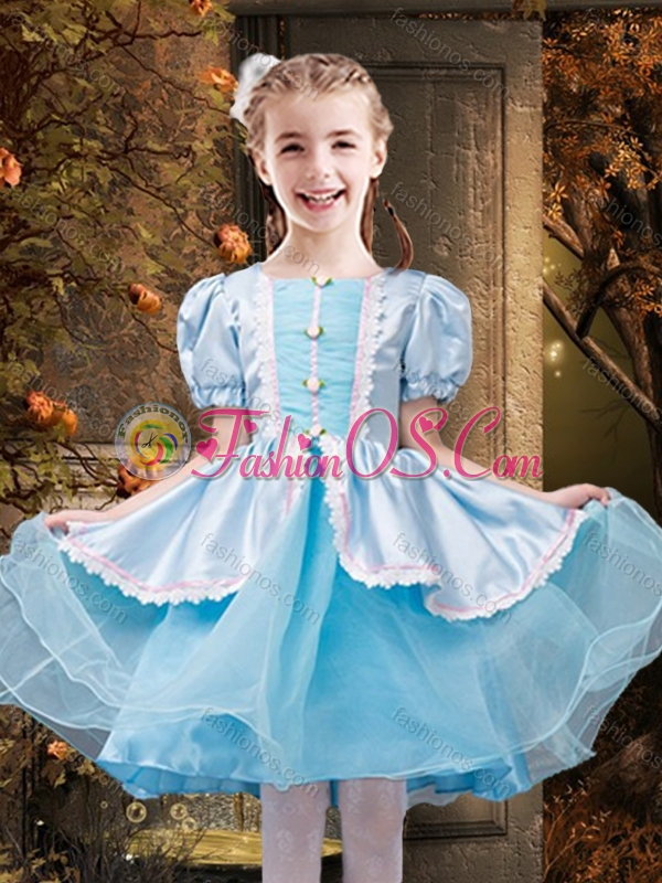Cute Square Bowknot Two Tone Little Girl Pageant Dress in Organza and Taffeta