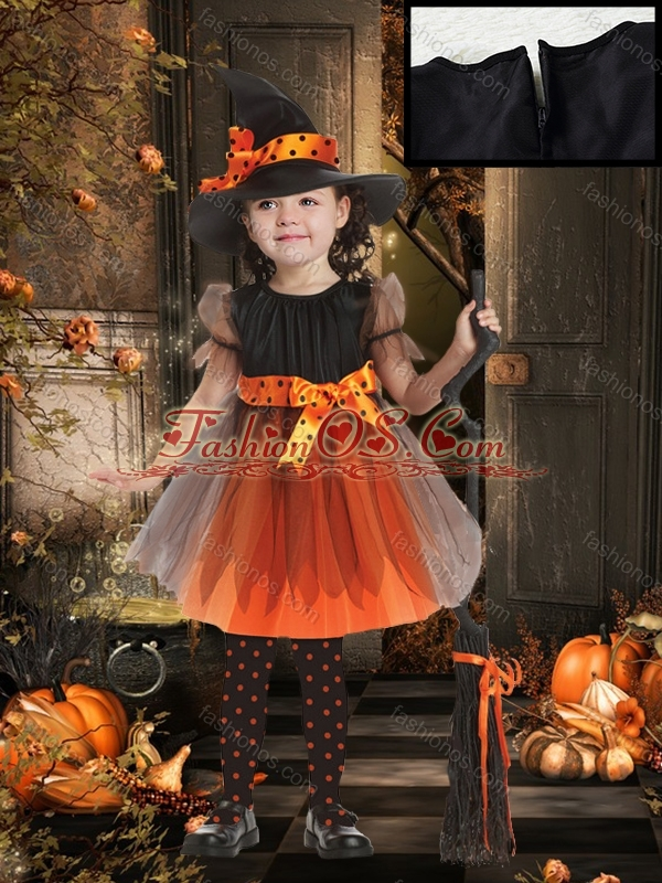 Lovely A Line Scoop Bowknot Little Girl Pageant Dress in Orange Red and Black