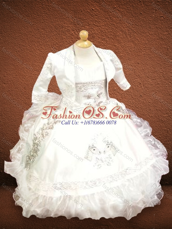 Classical Strapless White Little Girl Pageant Dress with Embroidery and Ruffles