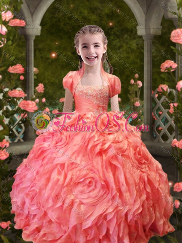 Lovely Straps Orange Red Little Girl Pageant Dress with Beading and Ruffles