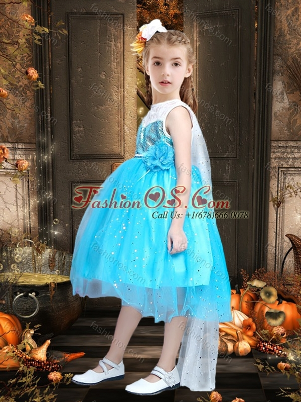 New Style Blue and White Little Girl Pageant Dress with Sequins and Handcrafted Flower