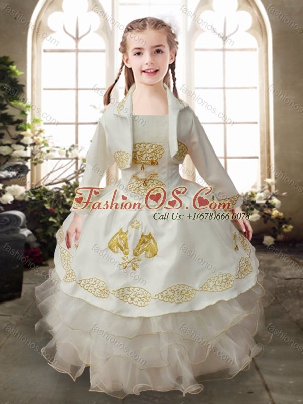 Perfect Ruffled Layers White Little Girl Pageant Dress with Gold Embroidery
