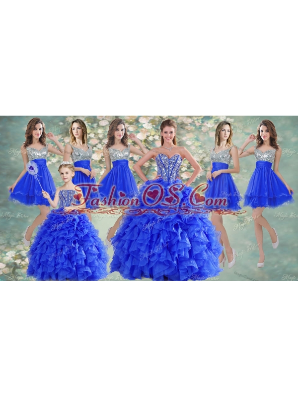 Big Puffy Beaded Blue Quinceanera Dress and Sequined Short  Dama Dresses Ruffled Mini Quinceanera Dress