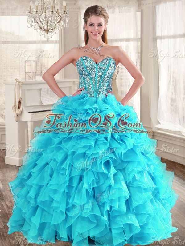 Visible Boning Aqua Blue Quinceanera Dress and Sequined Short  Dama Dresses Beaded and Ruffled Mini Quinceanera Dress