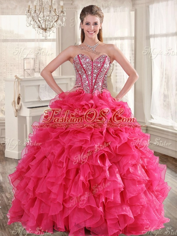 Visible Boning Coral Red Quinceanera Dress and Short Sequined Dama Dresses and Beaded and Ruffled Mini Quinceanera Dress