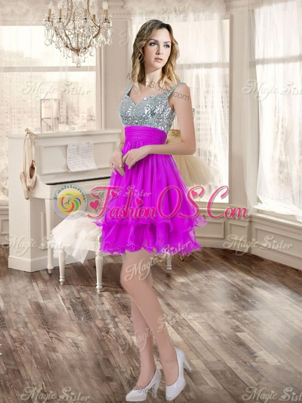 Visible Boning Fuchsia Sweet 16 Gown and Sequined Dama Dresses Beaded and Ruffled Mini Quinceanera Dress 729.58