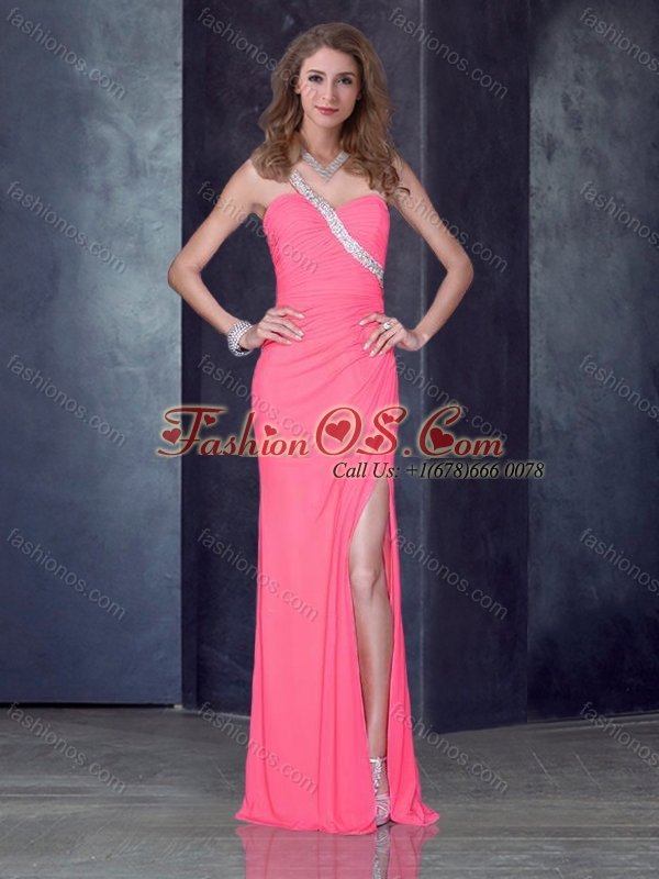 2016 Romantic One Shoulder Pink Prom Dress with High Slit and Beading