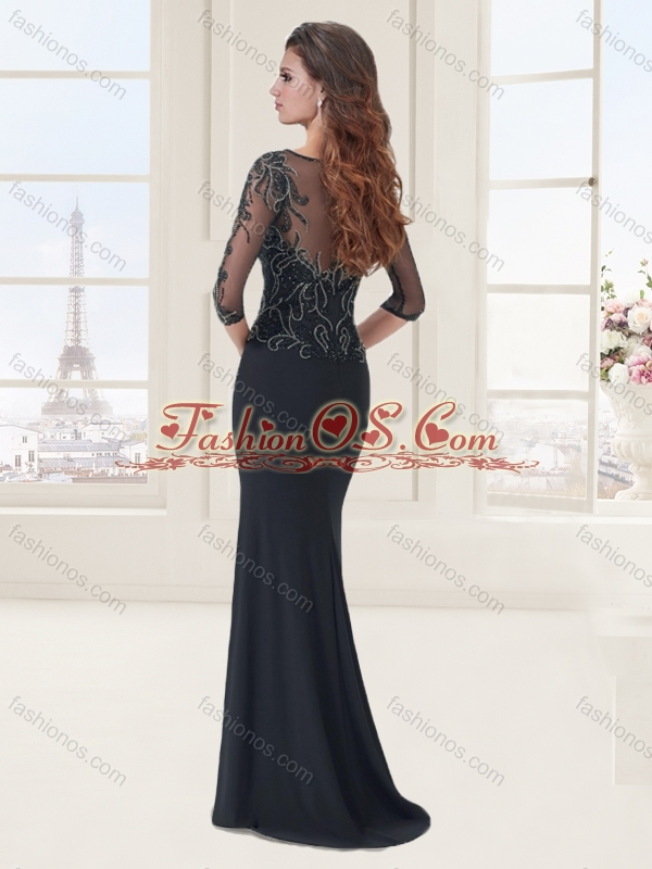 See Through Applique and Beaded Black Evening Dress with Half Sleeves