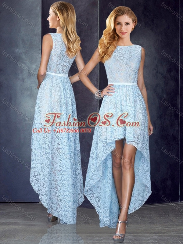 Bateau High Low Light Blue Modest Prom Dress in Lace-  123.14 44b6ab07c