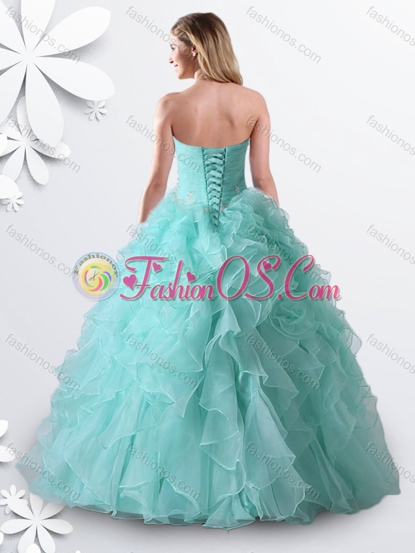 2016 Princess Apple Green Quinceanera Gown with Beading and Ruffles for Winter