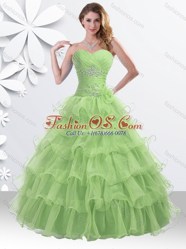 2016 Princess Spring Green Quinceanera Gown with Beading and Ruffled Layers for Winter
