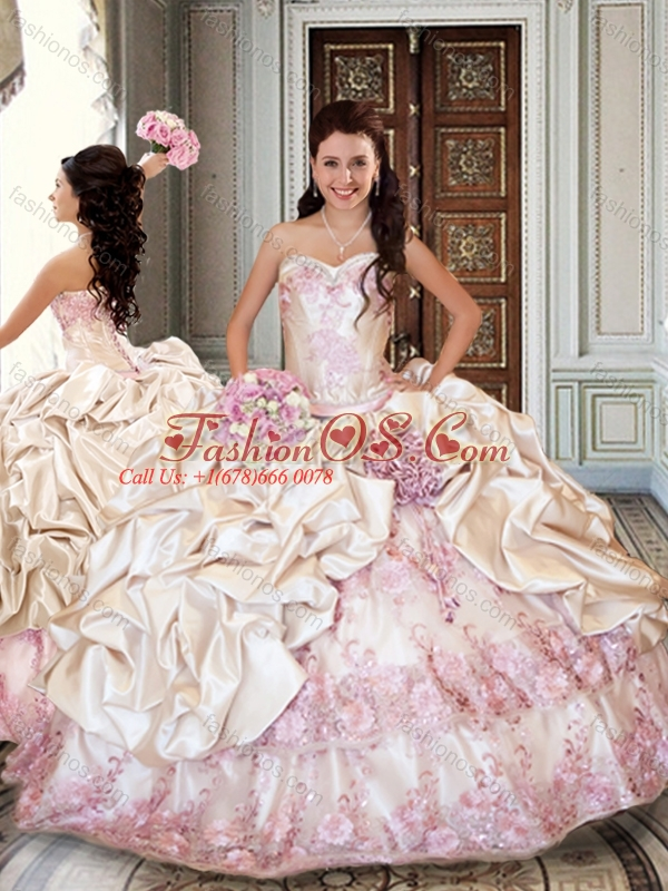 Ball Gown Taffeta Quinceanera Dresses with Bubbles and Appliques