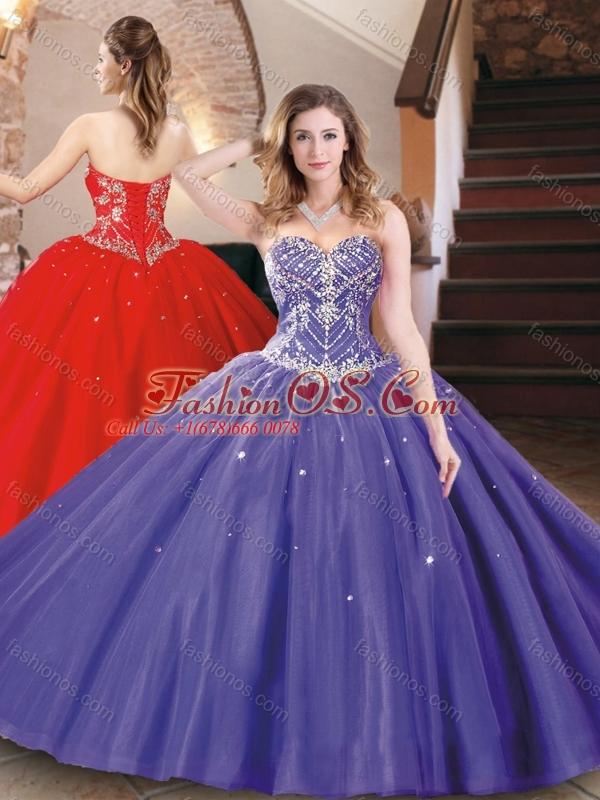 Best Selling Tulle Beaded Sweet 16 Dress in Purple for 2016