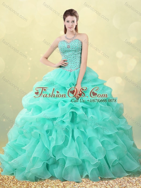 Big Puffy Apple Green Quinceanera Dress with Beading and Bubbles