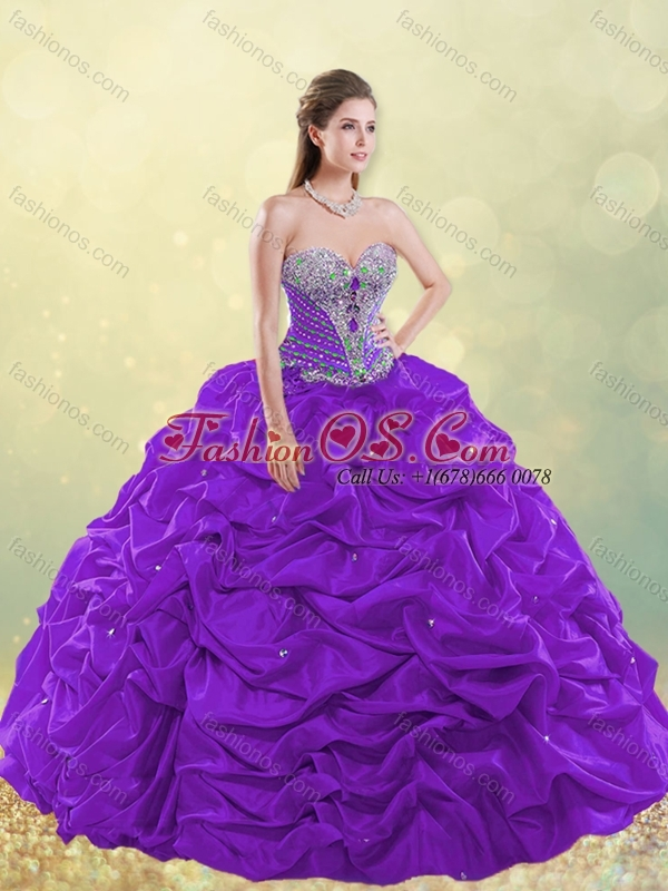 Gorgeous Really Puffy Beaded and Bubble Quinceanera Dress in Taffeta