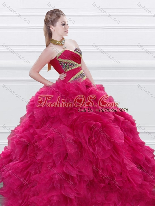 New Style Beaded and Ruffled Red Quinceanera Dress in Tulle