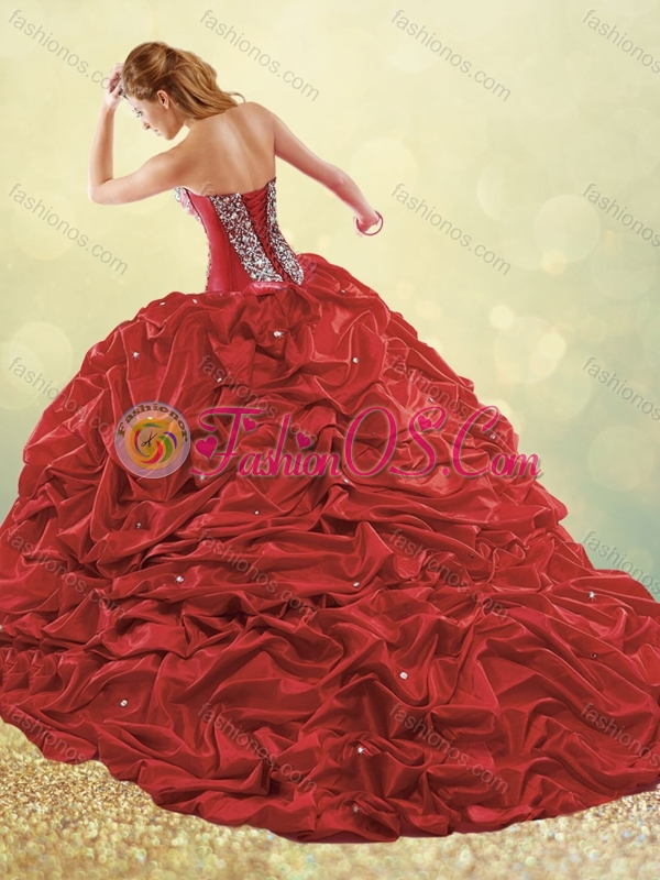 Popular Big Puffy Brush Train Taffeta Quinceanera Dress in Purple