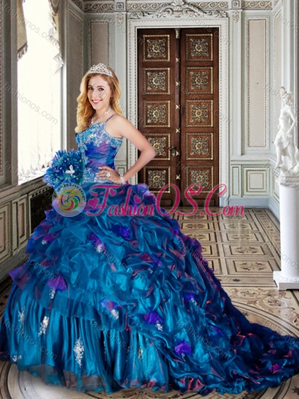 Spaghetti Straps Beaded and Applique Teal Quinceanera Dresses with Brush Train