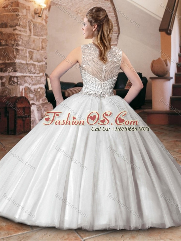 Luxurious See Through Back Straps Quinceanera Dress with Beaded Bodice