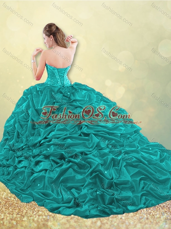 Classical Taffeta Blue Quinceanera Dress with Beading and Bubbles
