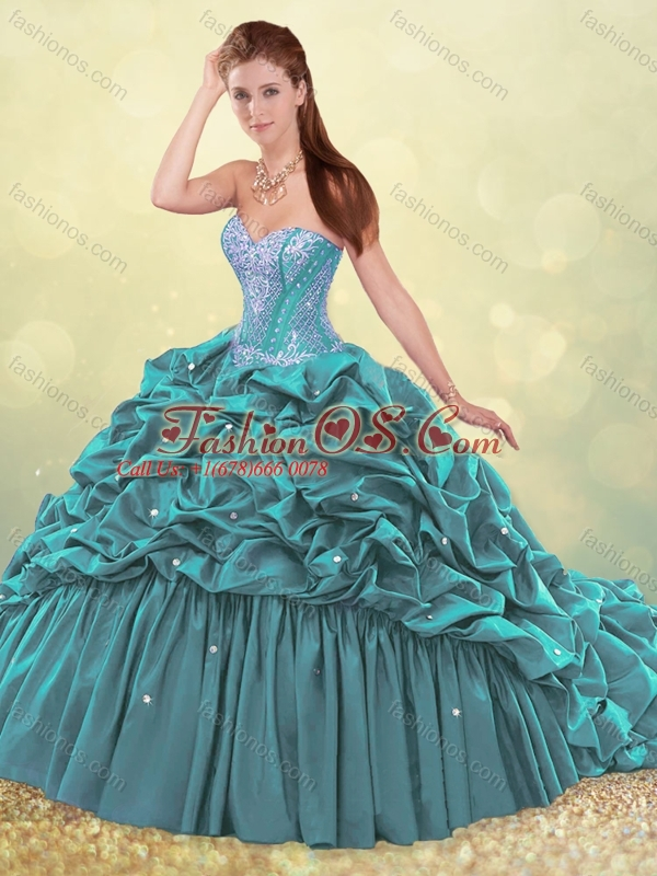 Beautiful Brush Train Teal Quinceanera Dress with Beading and Bubbles