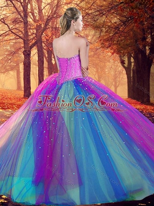 Custom Designed Multi Color Quinceanera Dress with Beading