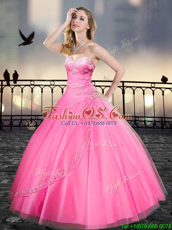 Really Puffy Pink Quinceanera Gowns with Beading and Appliques