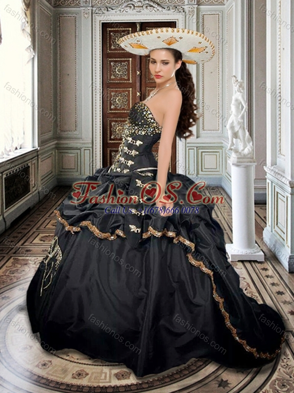 Two For One Taffeta Beaded and Applique Black Sweet 16 Dress with Brush Train