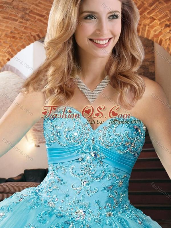 Exquisite Organza Applique with Beading Quinceanera Dress in Aqua Blue