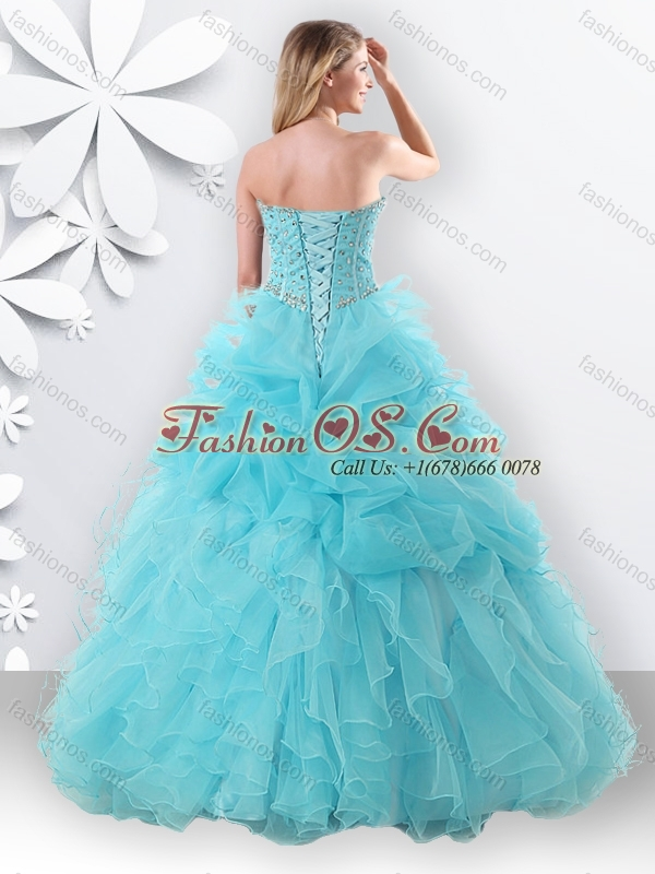 Princess Light Blue Sweet 16 Dress with Beading and Bubbles