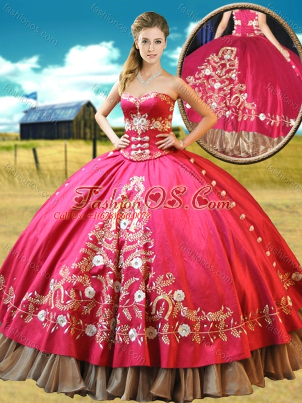 Really Puffy Taffeta Red Quinceanera Gown with Appliques and Beading