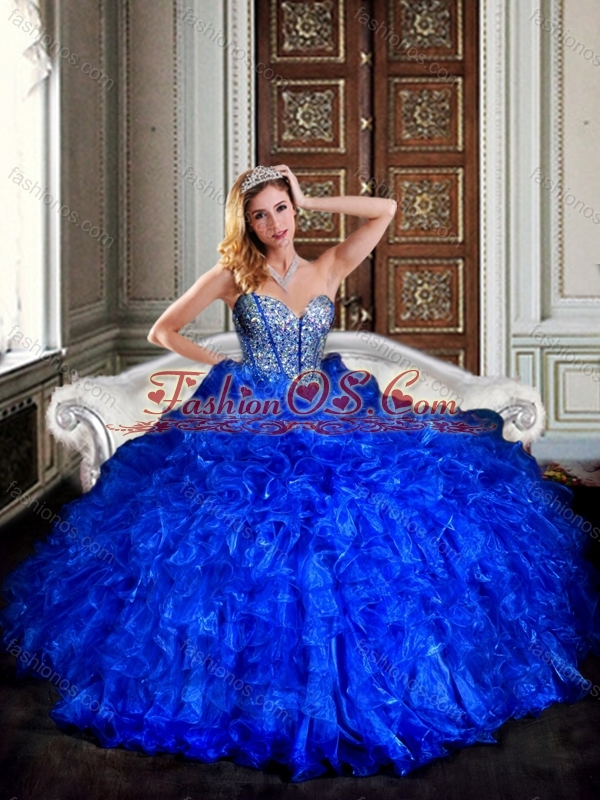 Visible Boning Royal Blue Quinceanera Dresses with Beading and Ruffles