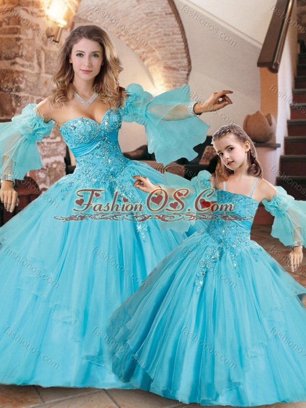 Beautiful Applique with Beading Aqua Blue Princesita Quinceanera Dresses in Organza